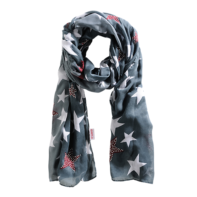 Star Patterned Scarf Charcoal Lady