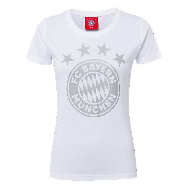 Womens T-Shirt Glitter Logo White