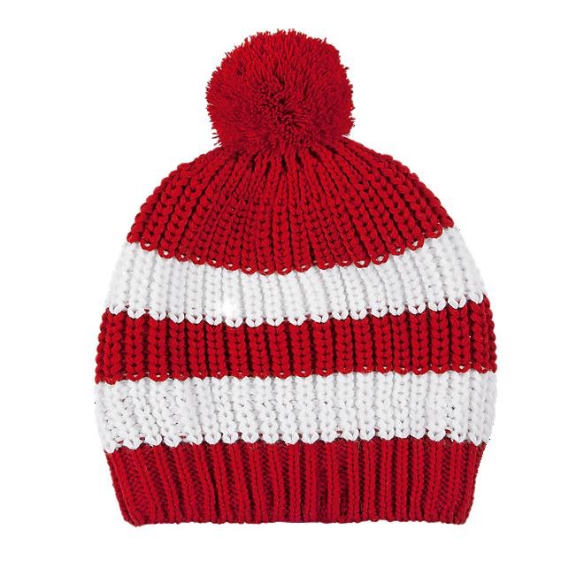 Kids Slouch Bobble Hat Stripes red/white