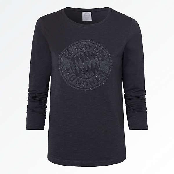 Camiseta de manga larga de señora escudo purpurina