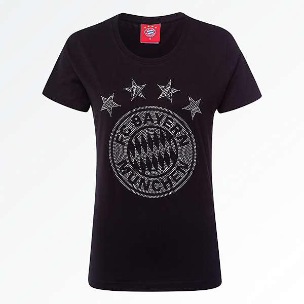 Damen T-Shirt Glitzer Logo schwarz