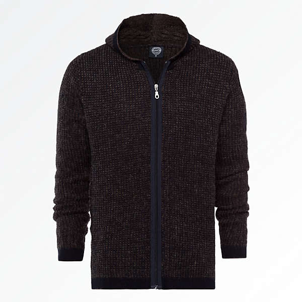 Hooded Knit Jacket Emblem