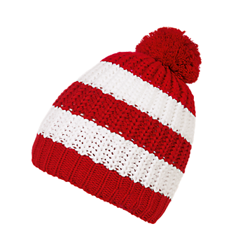 Kids Slouch Bobble Hat Stripes red/white