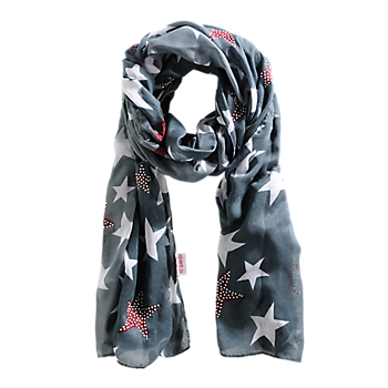 Women's Star Patterned Scarf Charcoal