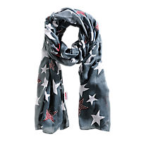 Womens Star Patterned Scarf Charcoal